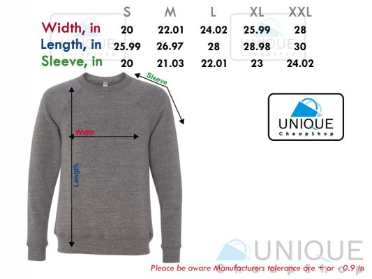 size chart sweatshirt unique cheap shop - uniquecheapshop.com
