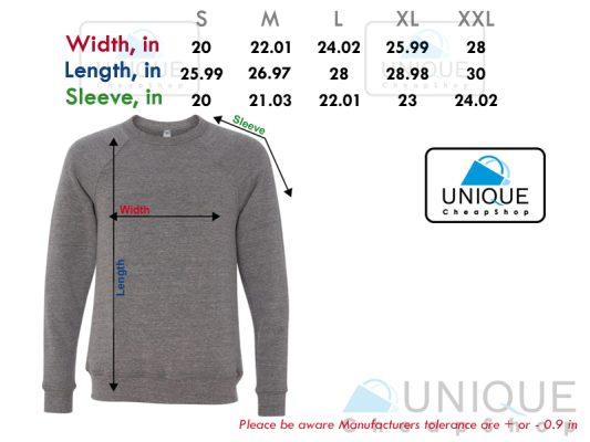 size chart sweatshirt unique cheap shop - uniquecheapshop.com