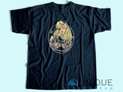 Alice In Wonderland Punk T Shirt Blue
