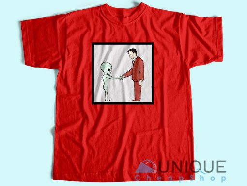 Alien Handshake With Man T Shirt Red