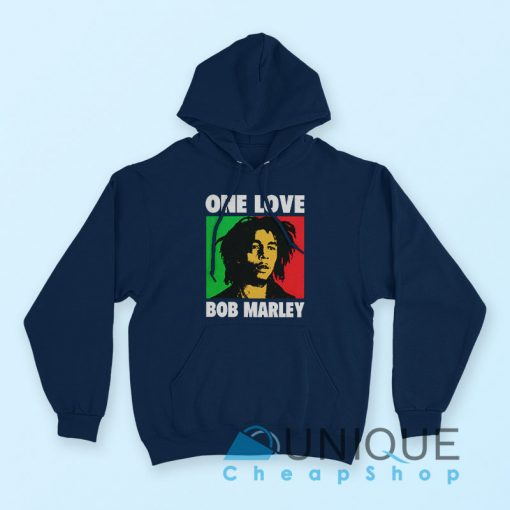 Hoodie Bob Marley One Love Hoodie Navy