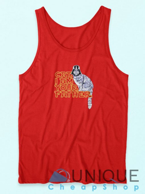 Cat I am Your Father Tank Top Red