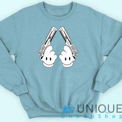 Disney Mickey Mouse Hand Guns Blue Sweatshirt