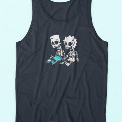 The Simpsons Bart and Lisa Skeletons Tank Top Blue
