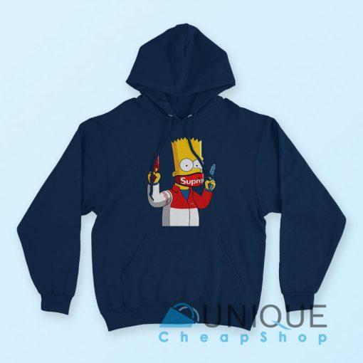 Gangsta Bart Simpson Supreme Hoodie Navy