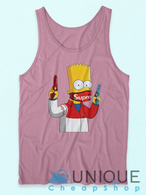 Bart Simpson Gang Supreme Tank Top Pink