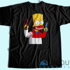 Supreme Bart Simpson T-Shirt Unisex Tee Shirt Printing Size S-3XL
