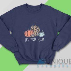 Its Fall Yall Halloween Pumpkin Sweatshirt Color Navy