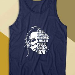 Michael Myers Social Distancing Tank Top Color Navy
